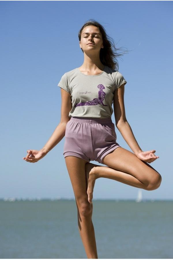 Short de Yoga mauve pastel