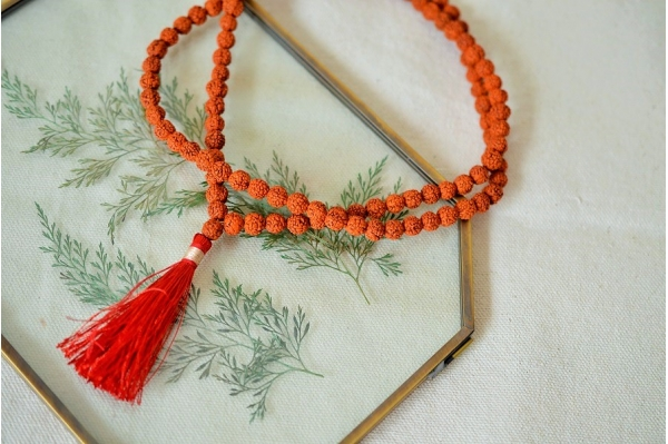 Red rudraksha mala