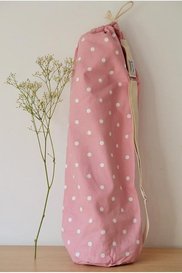Yoga mat bag Emy rose pois blancs