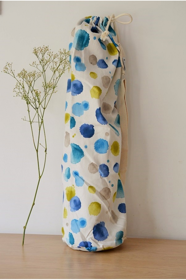 Yoga mat bag Emy ronds bleu vert