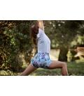 Yoga short tropical flowers