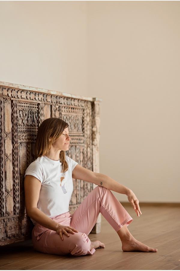 Pantalon de yoga rose poudré