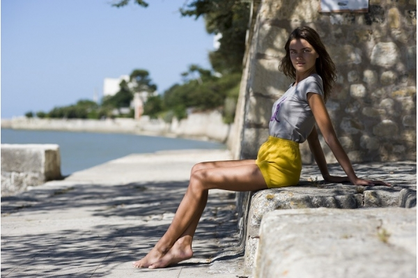 Short de yoga jaune